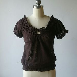Lacy Brown Blouse Cato small